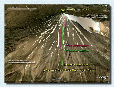 Mt Damavand Camp3 to Summit GPS track and route map