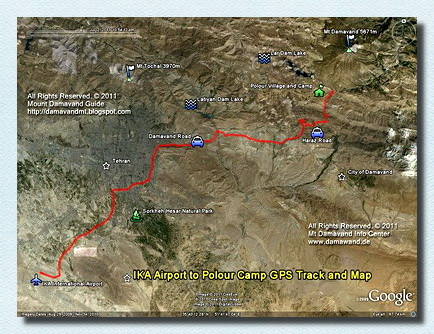 IKA Airport Tehran to Damavand Camp1 GPS track and road  map